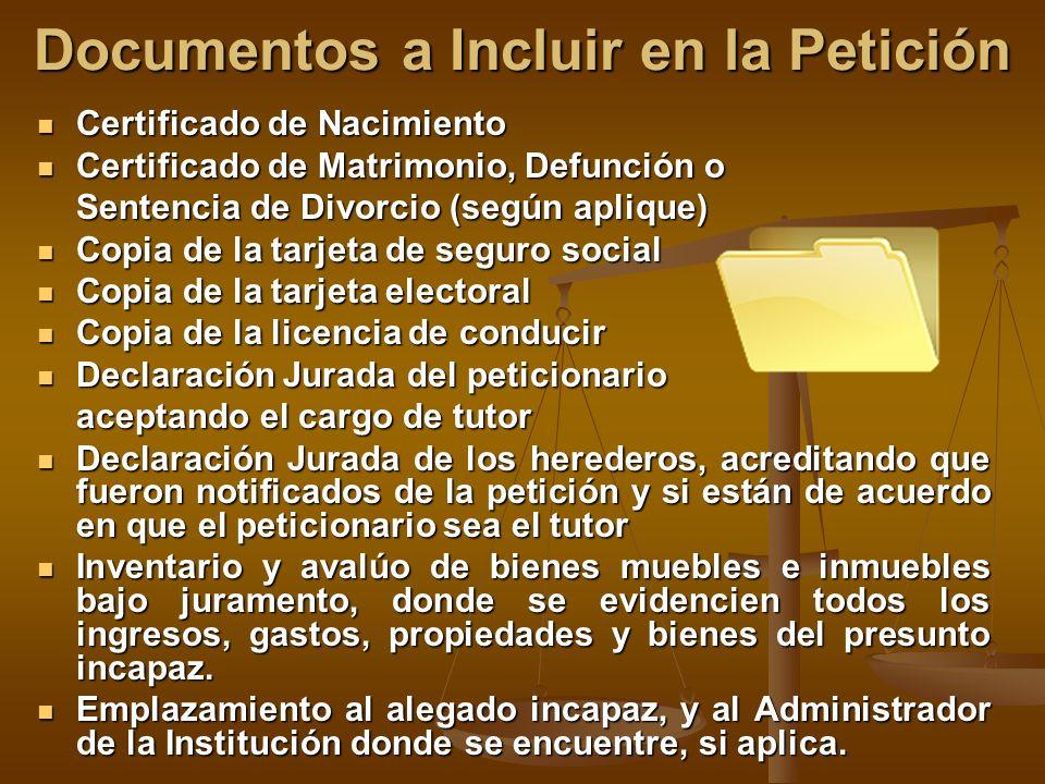 Documentos a Incluir en la Petición