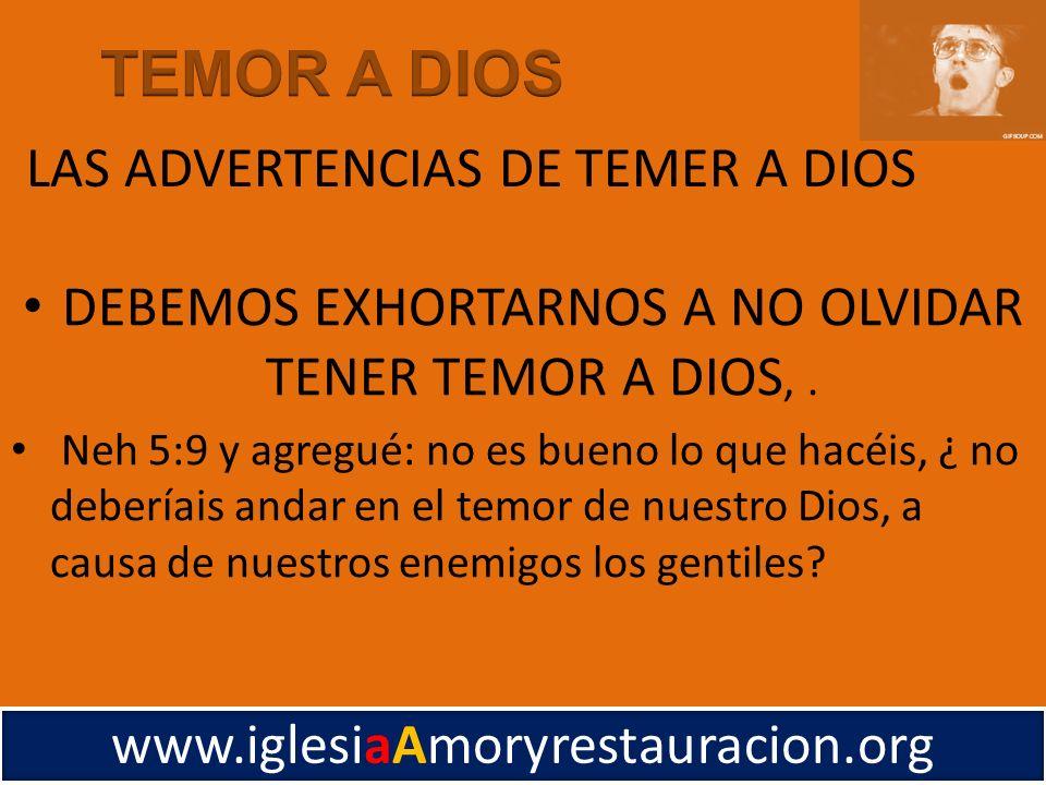 LAS ADVERTENCIAS DE TEMER A DIOS