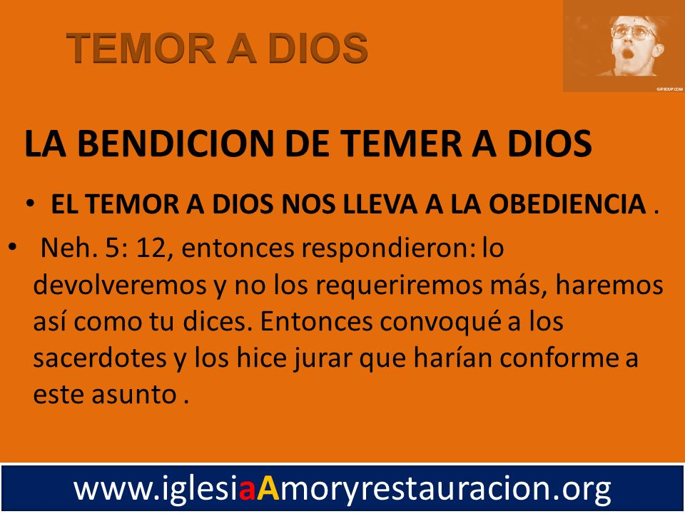 LA BENDICION DE TEMER A DIOS