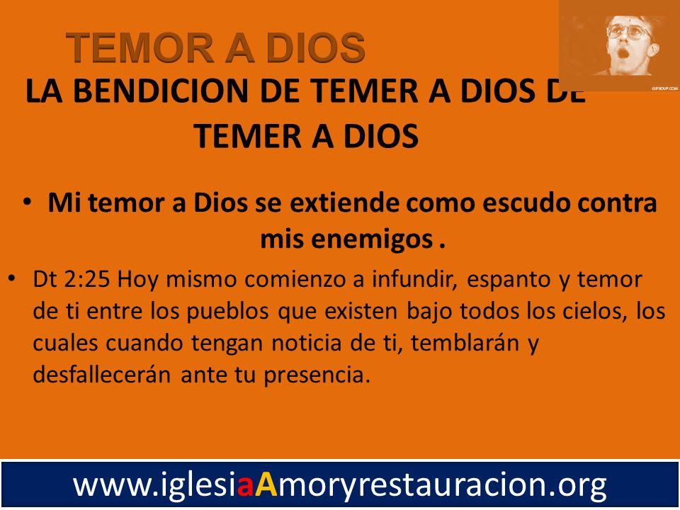 LA BENDICION DE TEMER A DIOS DE TEMER A DIOS