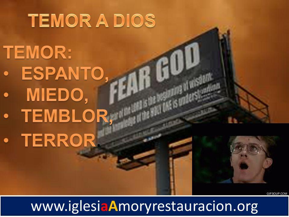 TEMOR A DIOS TEMOR: ESPANTO, MIEDO, TEMBLOR, TERROR.