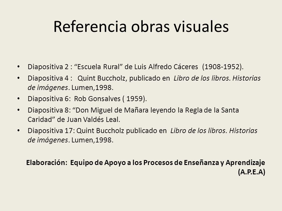 Referencia obras visuales