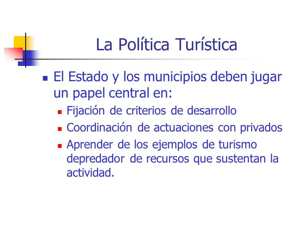La Política Turística El Estado y los municipios deben jugar un papel central en: Fijación de criterios de desarrollo.