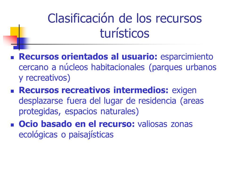 Clasificación de los recursos turísticos