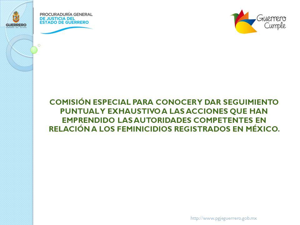 COMISIÓN ESPECIAL PARA CONOCER Y DAR SEGUIMIENTO PUNTUAL Y EXHAUSTIVO A LAS ACCIONES QUE HAN EMPRENDIDO LAS AUTORIDADES COMPETENTES EN RELACIÓN A LOS FEMINICIDIOS REGISTRADOS EN MÉXICO.