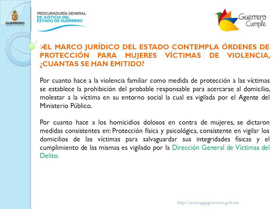 EL MARCO JURÍDICO DEL ESTADO CONTEMPLA ÓRDENES DE PROTECCIÓN PARA MUJERES VÍCTIMAS DE VIOLENCIA, ¿CUANTAS SE HAN EMITIDO