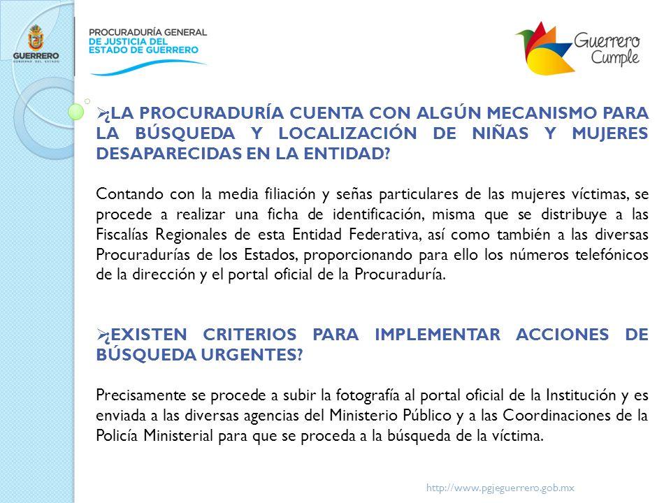 ¿EXISTEN CRITERIOS PARA IMPLEMENTAR ACCIONES DE BÚSQUEDA URGENTES