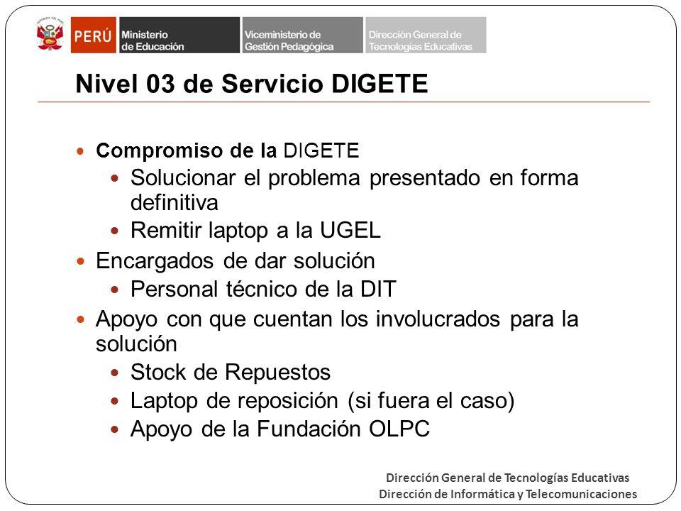 Nivel 03 de Servicio DIGETE