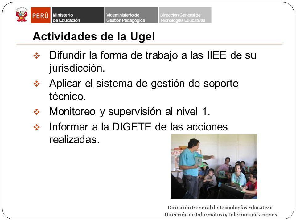 Actividades de la Ugel Difundir la forma de trabajo a las IIEE de su jurisdicción. Aplicar el sistema de gestión de soporte técnico.