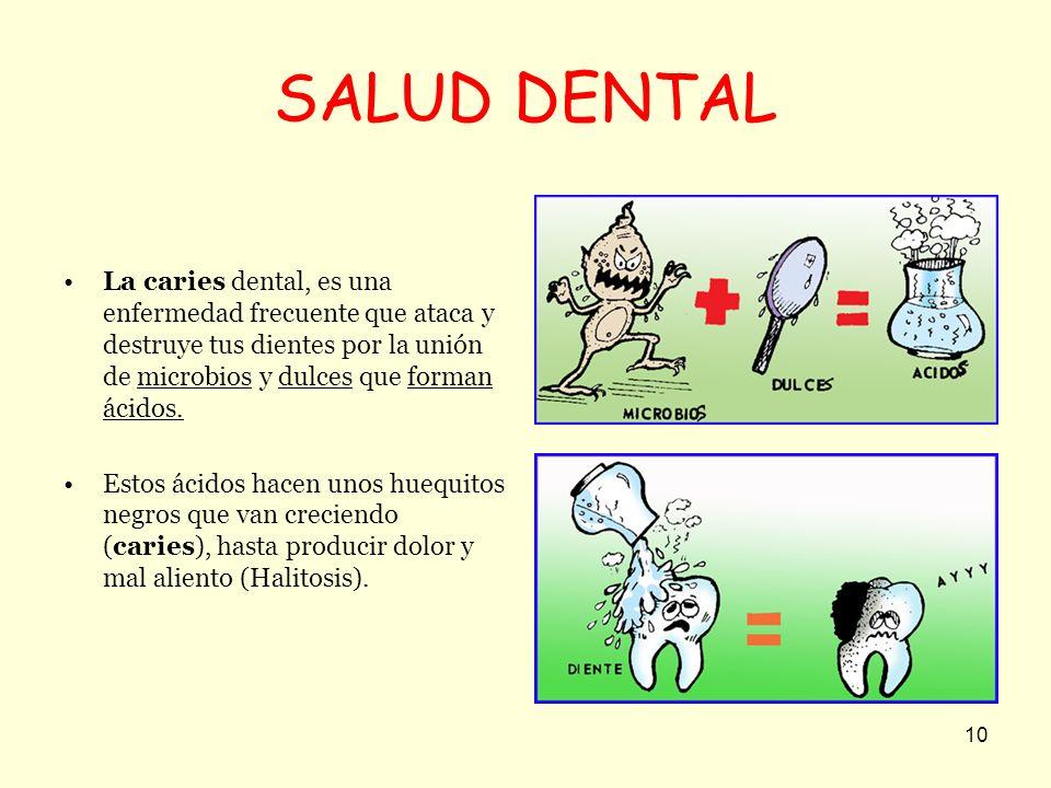 SALUD DENTAL La caries dental, es una enfermedad frecuente que ataca y destruye tus dientes por la unión de microbios y dulces que forman ácidos.