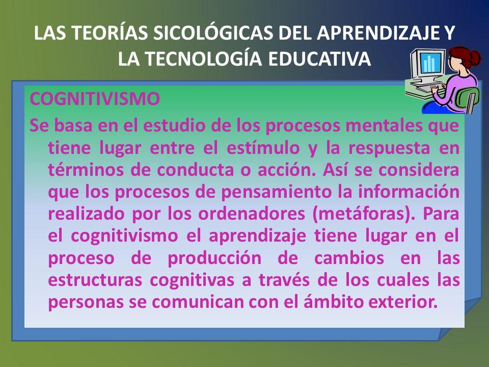LAS TEORÍAS SICOLÓGICAS DEL APRENDIZAJE Y LA TECNOLOGÍA EDUCATIVA