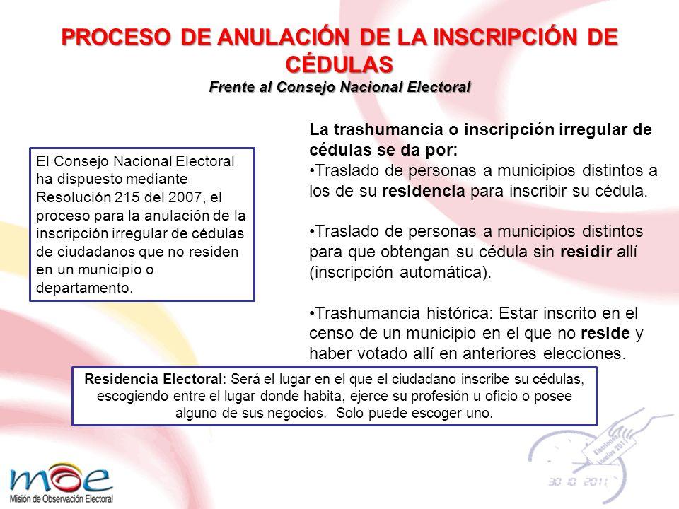 PROCESO DE ANULACIÓN DE LA INSCRIPCIÓN DE CÉDULAS