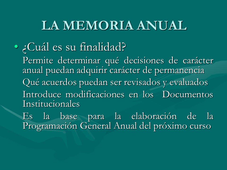 LA MEMORIA ANUAL ¿Cuál es su finalidad