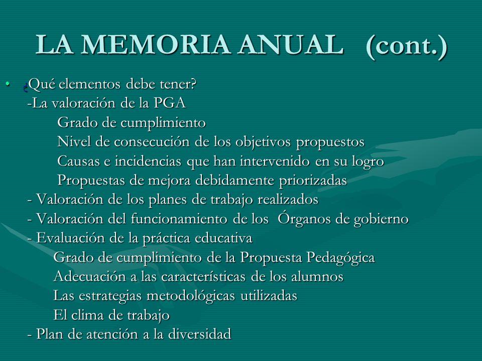 LA MEMORIA ANUAL (cont.)