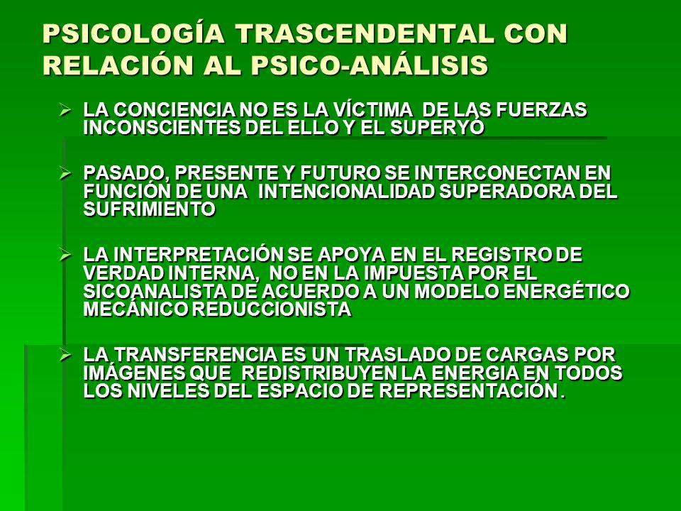 PSICOLOGÍA TRASCENDENTAL CON RELACIÓN AL PSICO-ANÁLISIS
