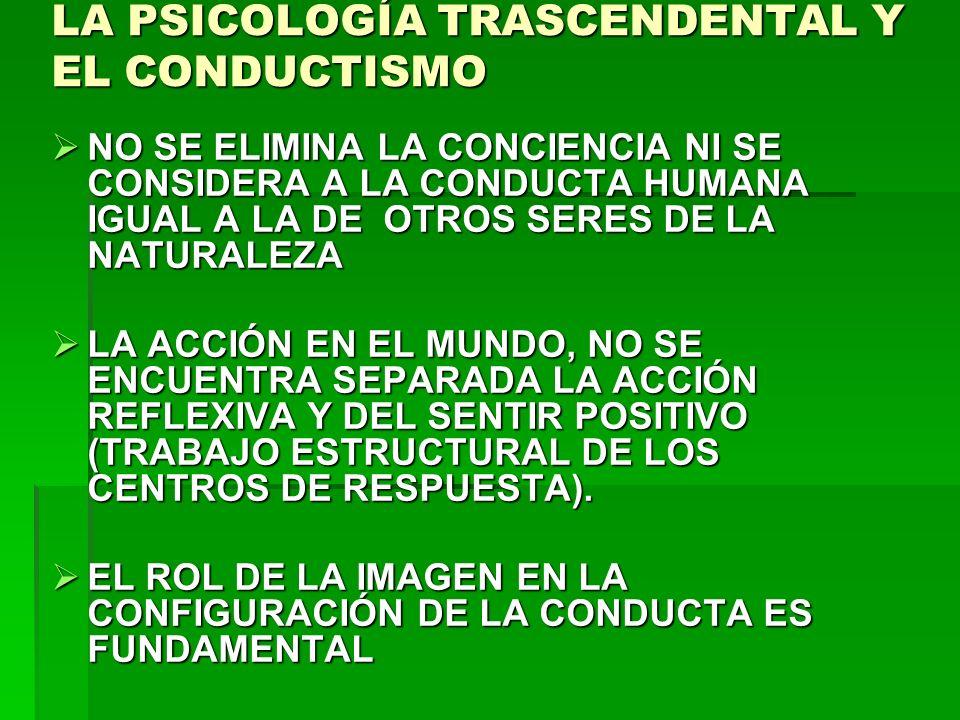 LA PSICOLOGÍA TRASCENDENTAL Y EL CONDUCTISMO