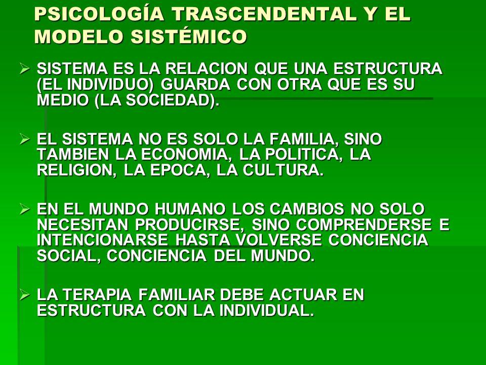 PSICOLOGÍA TRASCENDENTAL Y EL MODELO SISTÉMICO