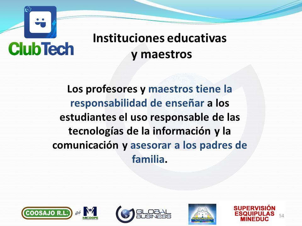 Instituciones educativas y maestros