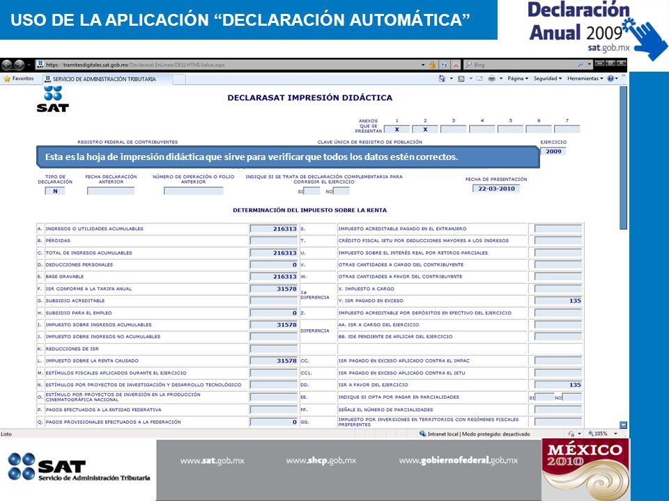 USO DE LA APLICACIÓN DECLARACIÓN AUTOMÁTICA