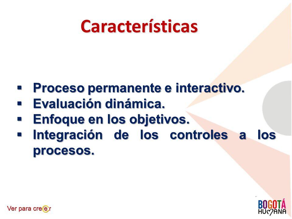 Características Proceso permanente e interactivo. Evaluación dinámica.