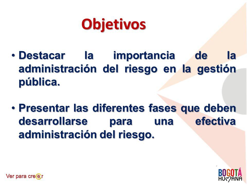 Objetivos Destacar la importancia de la administración del riesgo en la gestión pública.