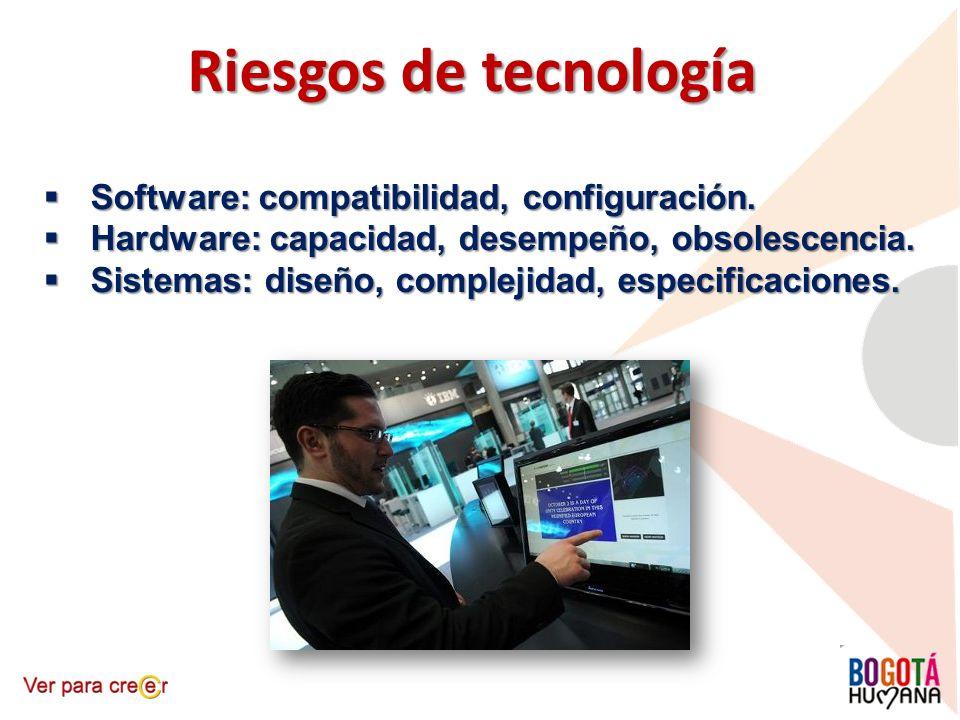 Riesgos de tecnología Software: compatibilidad, configuración.