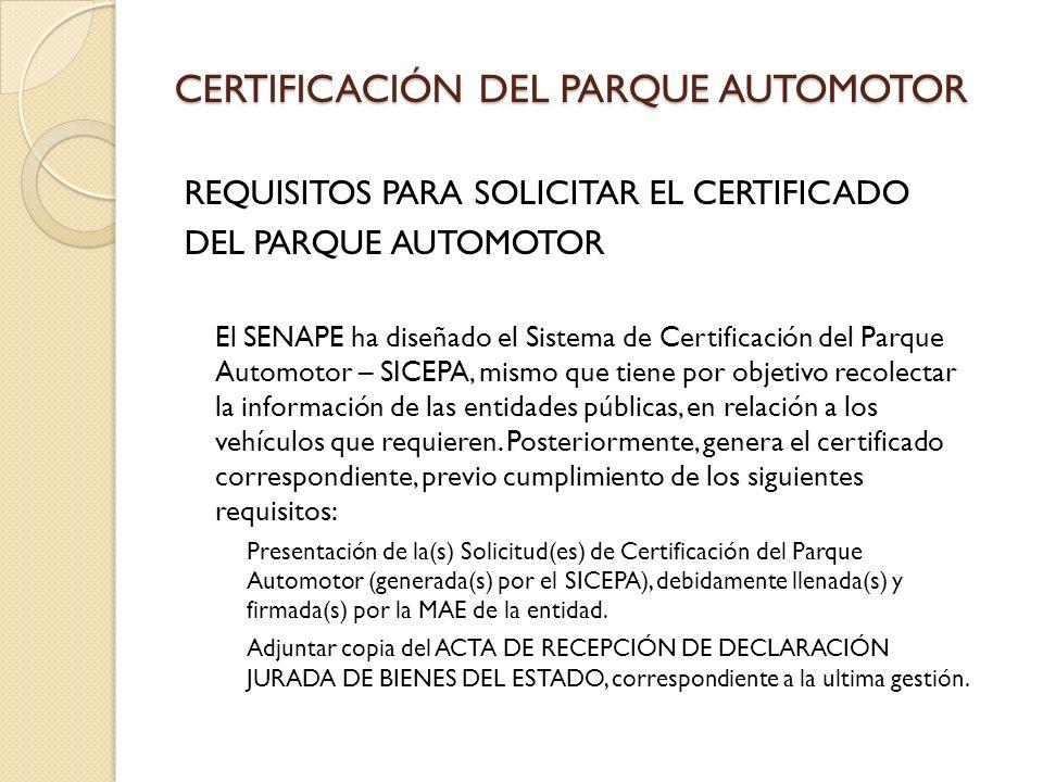 CERTIFICACIÓN DEL PARQUE AUTOMOTOR
