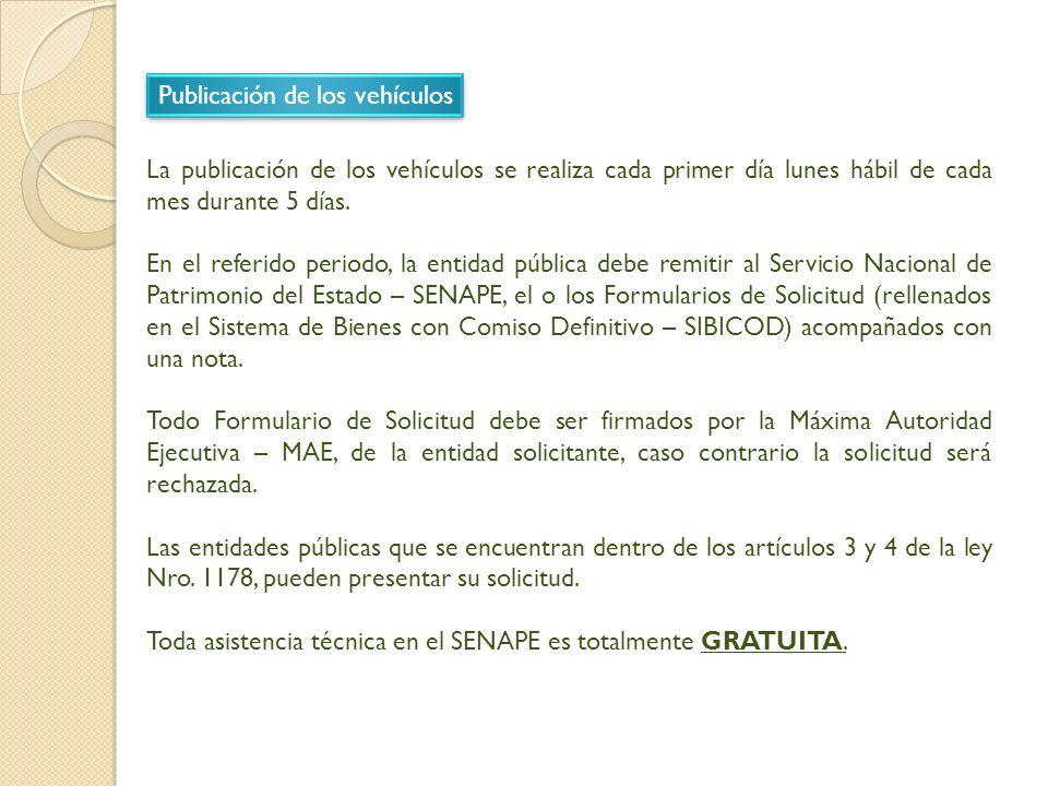 Publicación de los vehículos