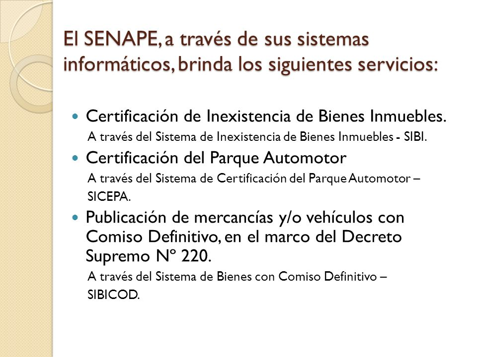 El SENAPE, a través de sus sistemas informáticos, brinda los siguientes servicios: