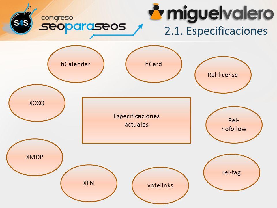 2.1. Especificaciones hCalendar hCard Rel-license XOXO