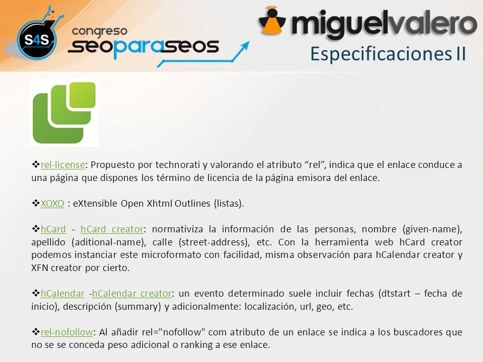Especificaciones II