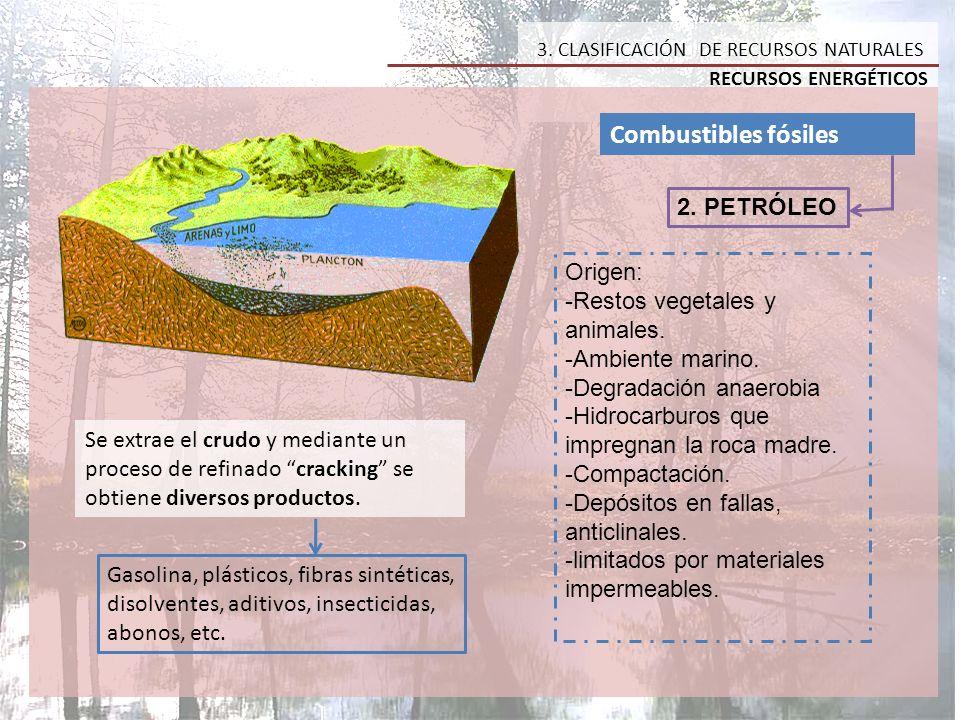 Combustibles fósiles 2. PETRÓLEO Origen: -Restos vegetales y animales.