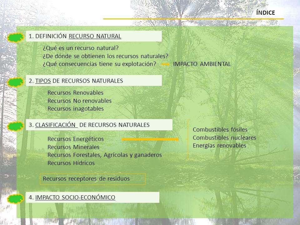 ÍNDICE 1. DEFINICIÓN RECURSO NATURAL. ¿Qué es un recurso natural ¿De dónde se obtienen los recursos naturales