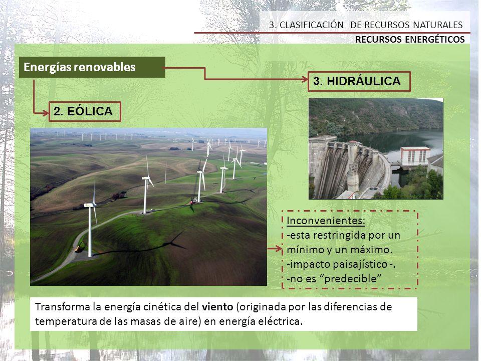 Energías renovables 3. HIDRÁULICA 2. EÓLICA Inconvenientes: