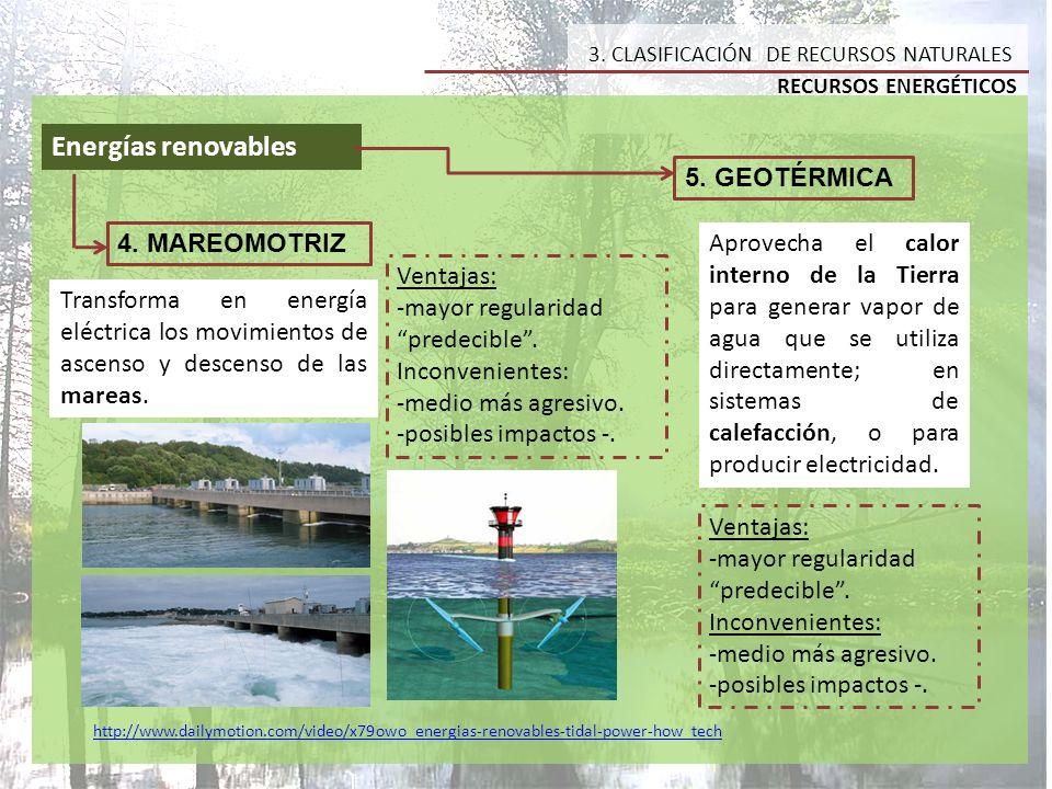 Energías renovables 5. GEOTÉRMICA 4. MAREOMOTRIZ