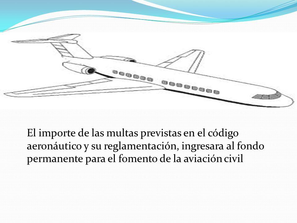 El importe de las multas previstas en el código aeronáutico y su reglamentación, ingresara al fondo permanente para el fomento de la aviación civil