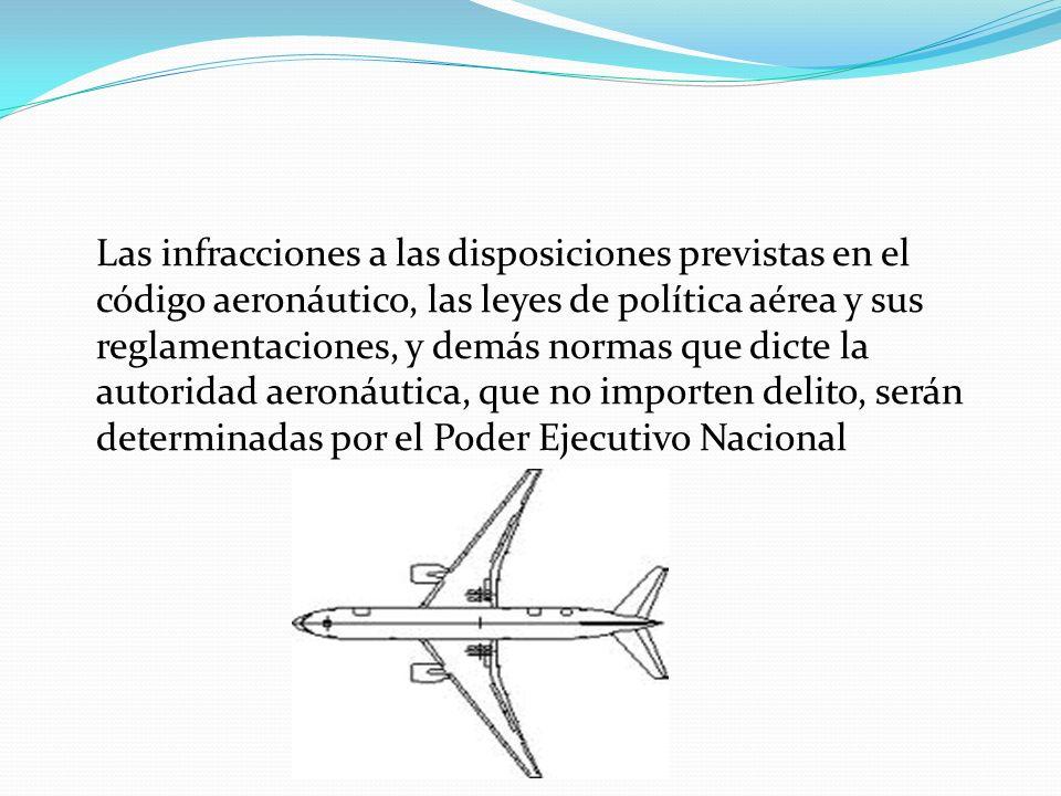 Las infracciones a las disposiciones previstas en el código aeronáutico, las leyes de política aérea y sus reglamentaciones, y demás normas que dicte la autoridad aeronáutica, que no importen delito, serán determinadas por el Poder Ejecutivo Nacional