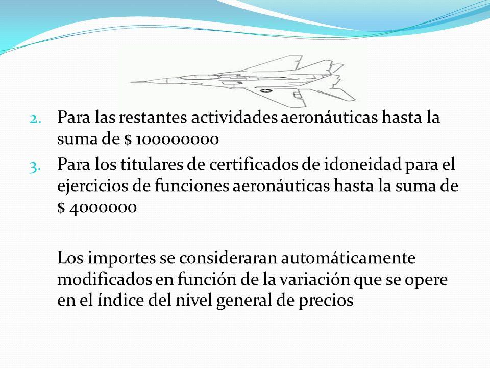 Para las restantes actividades aeronáuticas hasta la suma de $ 100000000