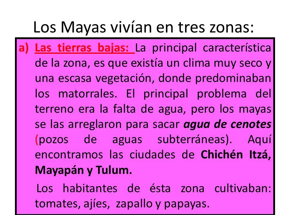 Los Mayas vivían en tres zonas: