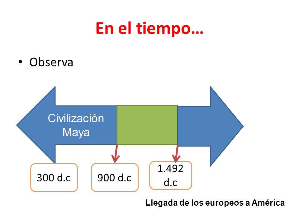 En el tiempo… Observa Civilización Maya 1.492 d.c 300 d.c 900 d.c