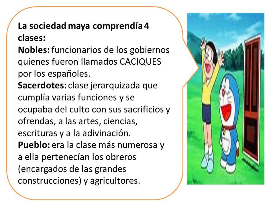 La sociedad maya comprendía 4 clases:
