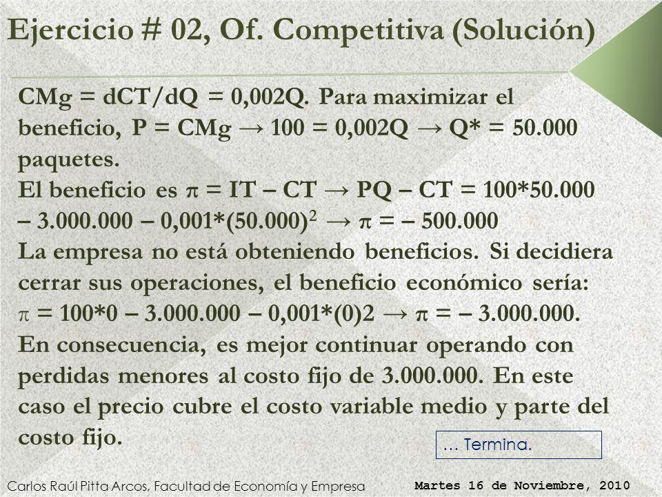 Ejercicio # 02, Of. Competitiva (Solución)