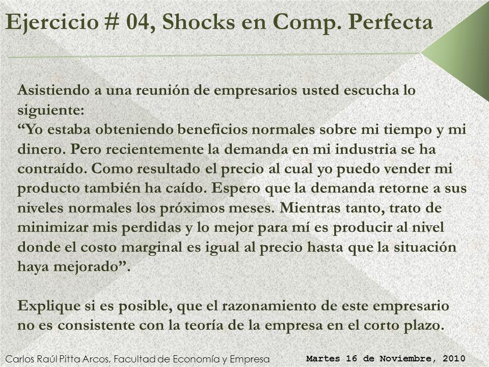 Ejercicio # 04, Shocks en Comp. Perfecta