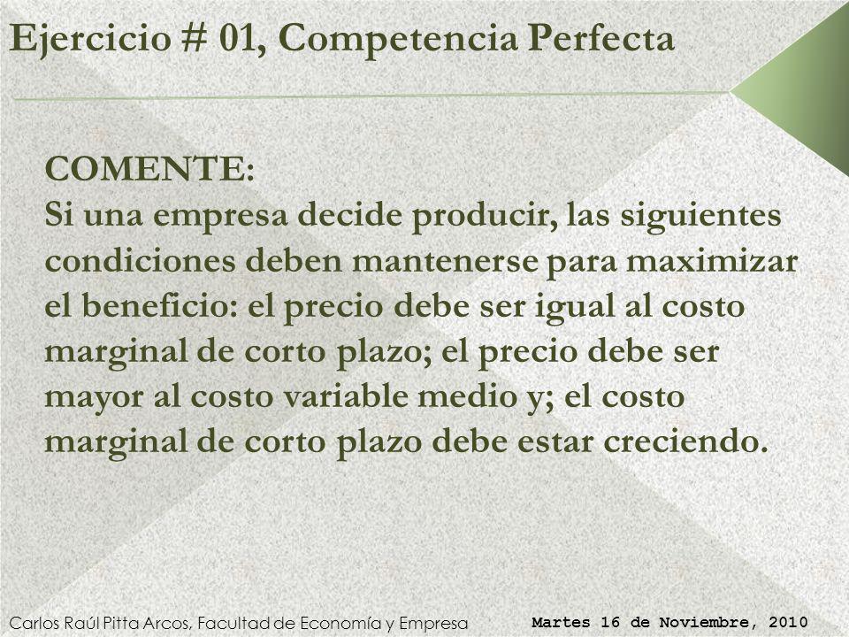 Ejercicio # 01, Competencia Perfecta
