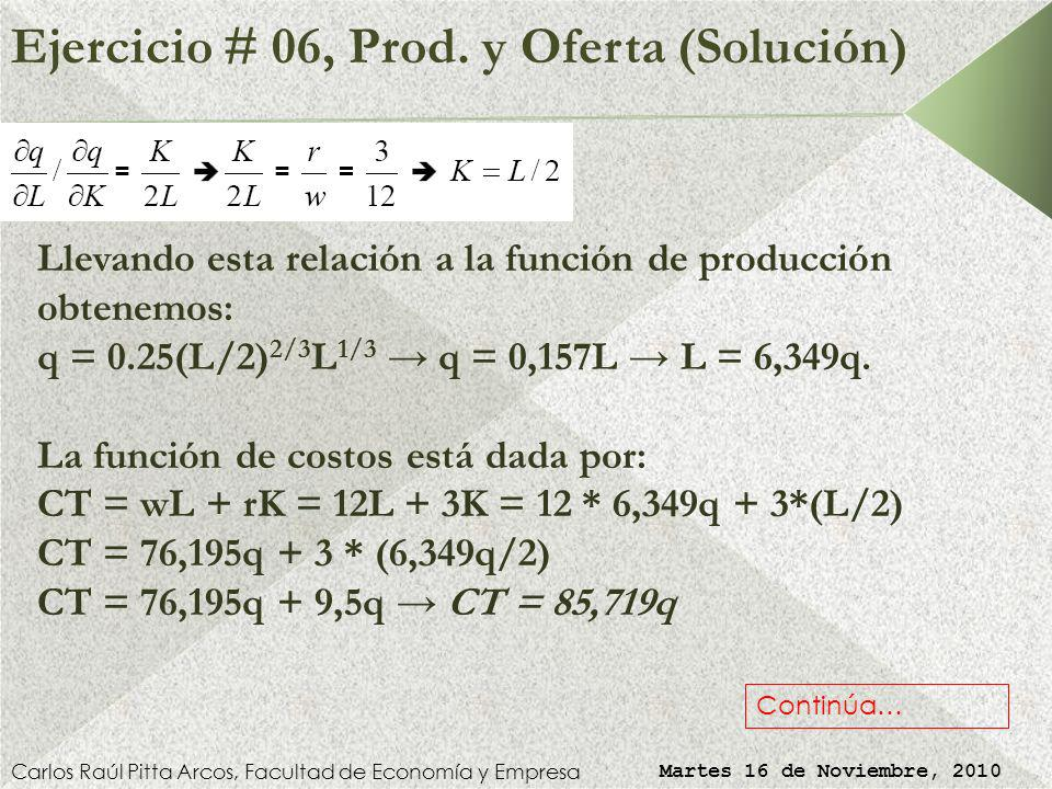 Ejercicio # 06, Prod. y Oferta (Solución)