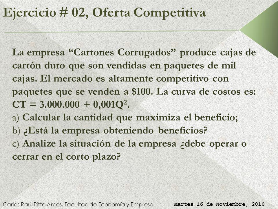 Ejercicio # 02, Oferta Competitiva