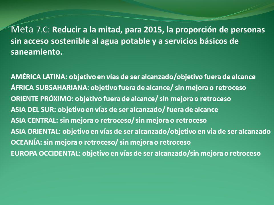 Meta 7.C: Reducir a la mitad, para 2015, la proporción de personas sin acceso sostenible al agua potable y a servicios básicos de saneamiento.