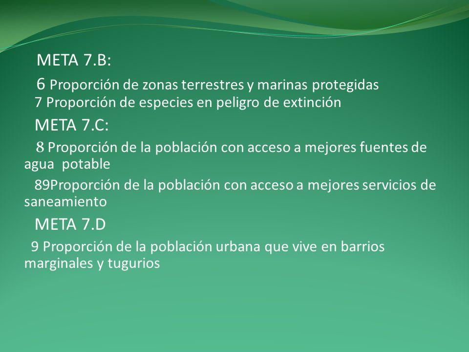 META 7.B: 6 Proporción de zonas terrestres y marinas protegidas 7 Proporción de especies en peligro de extinción.