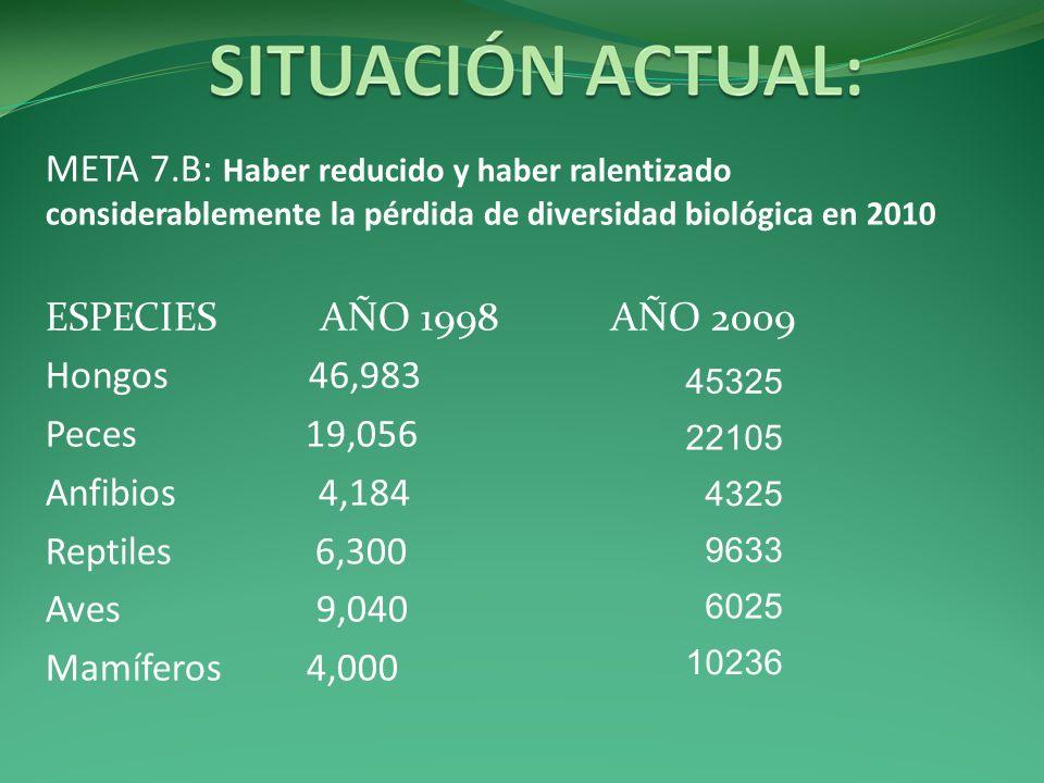 META 7.B: Haber reducido y haber ralentizado considerablemente la pérdida de diversidad biológica en 2010