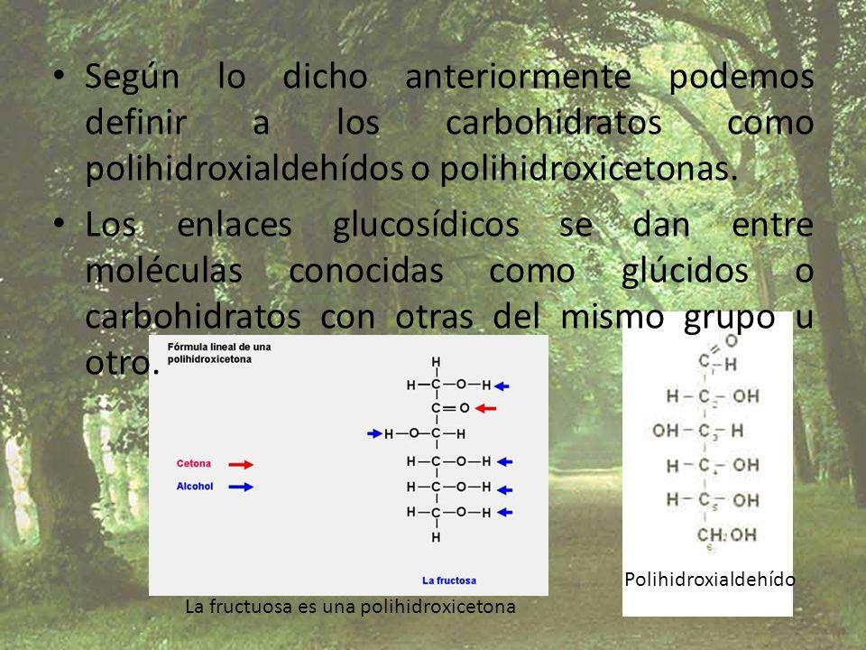 Según lo dicho anteriormente podemos definir a los carbohidratos como polihidroxialdehídos o polihidroxicetonas.